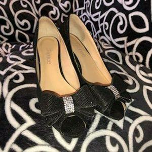 J.  Renee Black Glittery with Rhinestones Shoes
